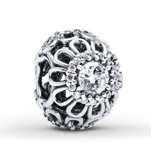 New Pandora flower charm, clear CZ sterling silver